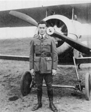 Lafayette Escadrille (film) - Corporal William Wellman and Celia Nieuport 24 fighter c. 1917 (one of a series of aircraft all named after his mother)