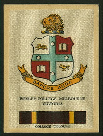 Wesley College (Victoria) - A Cigarette Card featuring the Wesley College's colours and crest (Circa 1920s)