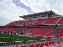 BMO Field, the home stadium for Toronto FC of Major League Soccer, and the Canadian men's national soccer team.
