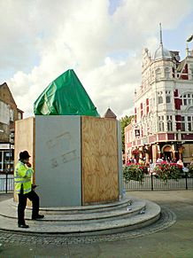 Champions statue boarded up for Millwall visit