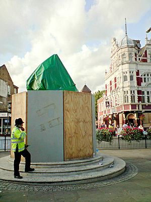 Millwall F.C. - West Ham United statue covered up to prevent vandalism by Millwall fans, August 2009
