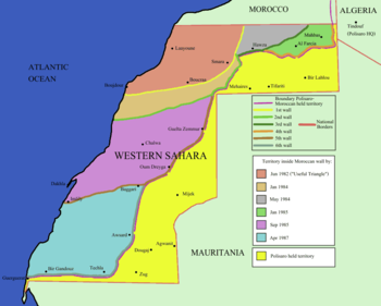 English: Map of the Moroccan Wall in Western S...