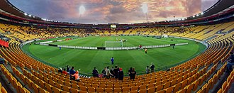 Wellington Regional Stadium - Panorama of Westpac Stadium during an A-League match in 2017