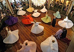 Whirling Dervishes perform at the Mevlevi Museum in Konya, Central Anatolia region.