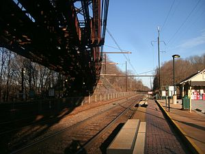 Whitford station from under trestle, January 2013.jpg
