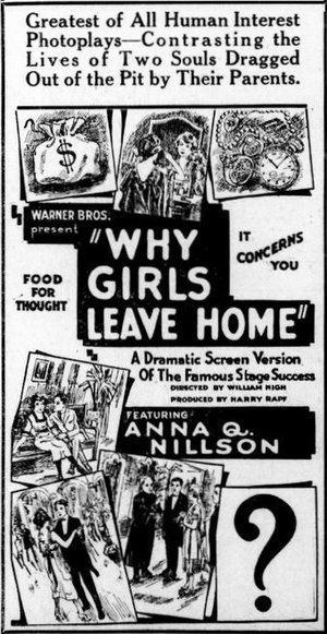 Why Girls Leave Home (1921 film) - newspaper advertisement