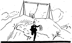 William C. Colburn running from his station from the April 1916 QST.png