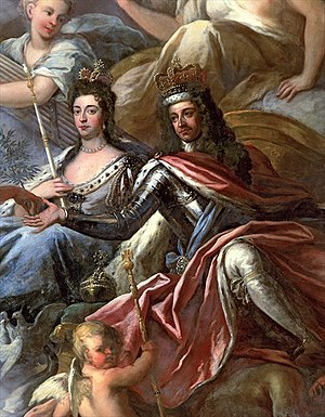 Glorious Revolution in Scotland - William III and Mary II depicted on the ceiling of the Painted Hall, Greenwich.