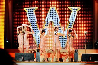 "Wonder Girls - Wonder Girls performing ""Nobody"" at the 2008 BICHE opening ceremony in October 2008. From left to right: Sunmi, Sohee, Sunye, Yeeun and Yubin"