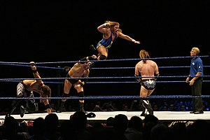 Jesse and Festus - Festus launches Jesse during a match against Curt Hawkins and Zack Ryder.