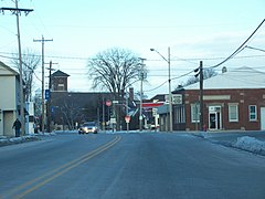 Downtown Wrightstown on WIS 96. In the back you can see St. Paul Catholic Church