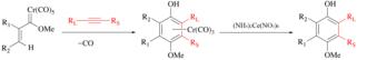 Ceric ammonium nitrate - Image: Wulff–Dötz reaction to a chromium half sandwich complex