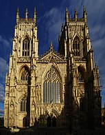 A gothic cathedral with two towers.
