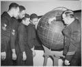"""""""CQM L. J. Russell, USNR, teaching navigation to Charles W. Divers, QM2c, Royal H. Gooden, QM2c, Lewis F. Blanton, QM3c, - NARA - 520611.tif"""