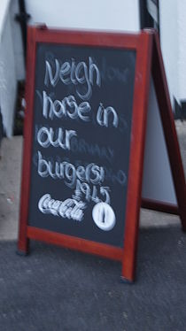 'Neigh horse in our burgers!', Swan and Talbot, Wetherby (15th February 2013).JPG