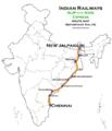 (Chennai - New Jalpaiguri) Express Route map.png