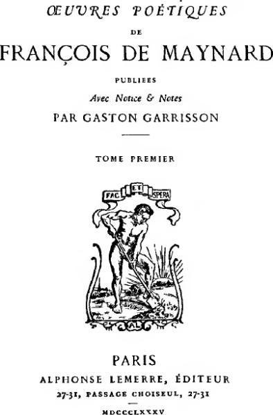 File:Œuvres poétiques de François de Maynard, 1885, tome 1.djvu