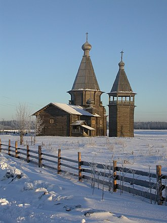 Kargopolsky District - The Saunino Pogost: the wooden church of St. John Chrysostom (1665) with bell tower