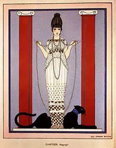 'Lady with Panther' by George Barbier for Cartier, 1914.jpg