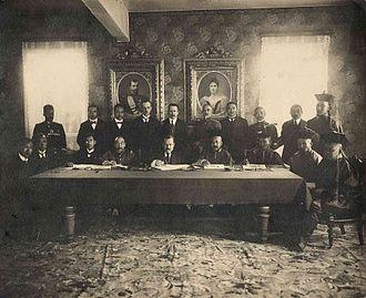 Treaty of Kyakhta (1915) - Deputies of China, Russia and Outer Mongolia signing the Treaty of Kyakhta.