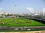 北京机场快轨过四元桥 Beijing Airport Express passing SiYuanQiao - panoramio.jpg
