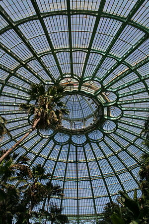 "Alphonse Balat - Laeken, internal view of the big greenhouse dome so called ""Jardins d'hiver"" which is part of the Royal Greenhouses of Alphonse Balat"