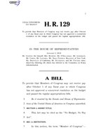 116th United States Congress H. R. 0000129 (1st session) - No Budget, No Pay Act.pdf