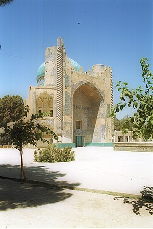 "Balkh - Ruins of the Masjid Sabz (the ""Green Mosque""), named for its tiled dome (in July 2001)"