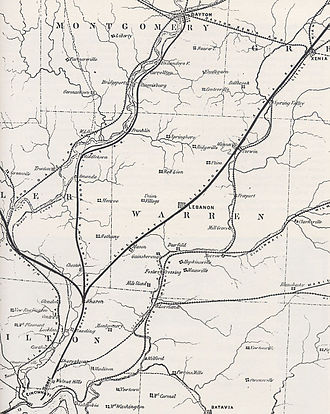 Cincinnati, Lebanon and Northern Railway - Image: 1854 Dayton and Cincinnati Railroad map