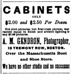 1891 Gendron photographer advert Cambridge Chronicle August15.png
