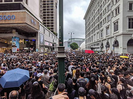 Tens of thousands of protesters in Nathan Road on 7 July. 190707 HK Protest Incendo 01.jpg