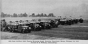 64th Coast Artillery (United States) - 1931 GMC model T95 8-ton trucks towing 3 inch AA guns of the 64th Coast Artillery