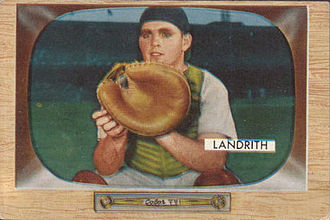 Hobie Landrith - Hobie Landrith in his final season as Redlegs catcher in 1955.