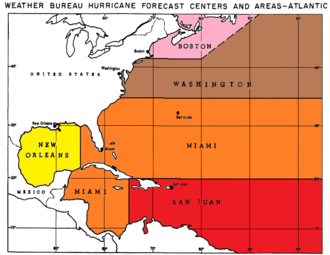 History of Atlantic hurricane warnings - Hurricane Warning Offices and their areas of responsibility, circa 1959
