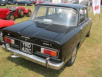 Alfa Romeo Giulia - 1965 Giulia TI; the C-shaped chrome trim around the tail lights is typical of the earliest Giulias.