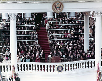 United States presidential inauguration - Presidential inauguration with old overhead ceremonial porch at the eastern front of the U.S. Capitol (Lyndon B. Johnson, January 20, 1965)