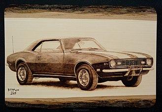 Pyrography - Image: 1968 Chevrolet Camaro Z 28 Handmade pyrography by BTJ Pyro