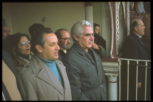 Álvaro Cunhal - Cunhal, Communist Party Secretary-General, with Octávio Pato, the party's presidential candidate, at Campo Pequeno, Lisbon, 1976