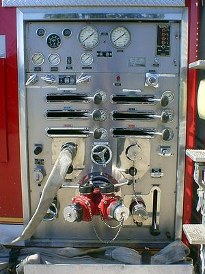 Sutphen - Detail of control panel on 1987 fire engine