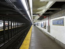 The First Avenue subway station