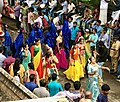 1st day procession with costumed Krishna with Gopis at the Hindu festival Onam in Kerala.jpg