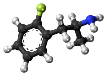 Ball-and-stick model of the 2-fluoroamphetamine molecule