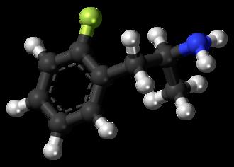 2-Fluoroamphetamine - Image: 2 Fluoroamphetamine molecule ball