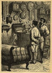 Captain Nemo and Professor Aronnax contemplating measuring instruments in Twenty Thousand Leagues Under the Sea