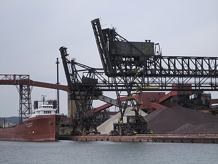 Container ship at Algoma Steel. The Great Lakes provides ocean access for industries in the province's interior. 2007 Ontario Sault Ste. Marie Algoma Steel.jpg