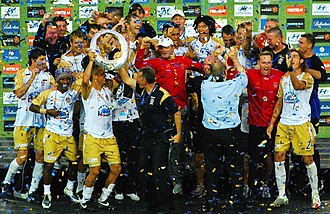 2008 A-League Grand Final - Newcastle Jets celebrating after their Grand Final victory.