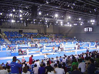 Pentathlon - All competitors face each other once in the fencing event.