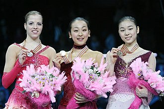 2008 World Figure Skating Championships - The ladies' podium. From left: Carolina Kostner (2nd), Mao Asada (1st), Kim Yuna (3rd).