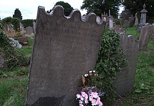 Society of United Irishmen - The grave in Bangor Abbey, County Down, of United Irishman Archibel Wilson, who was hanged for his part in the 1798 rebellion.
