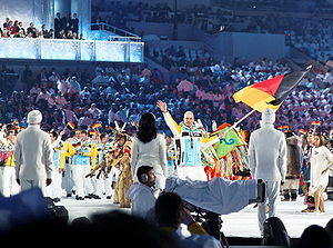 2010 Winter Olympics national flag bearers - The German flag being carried by André Lange.